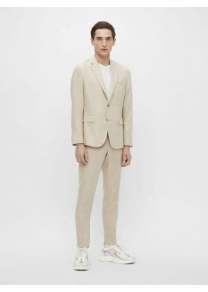 J.Lindeberg Grant Tech Linen Pants Sand Grey