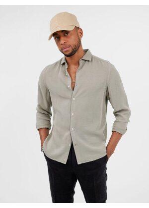 J.Lindeberg Comfort Tencel Slim Shirt Sage