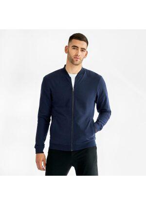 Bread & Boxers Jersey Jacket Navy Blue